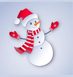 snowman character wearing santa hat vector image