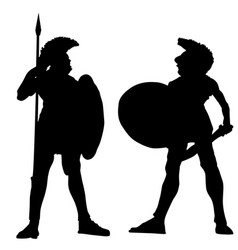 Spartan warrior silhouettes on white vector