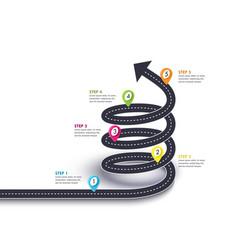 Spiral arrow road to success road trip vector