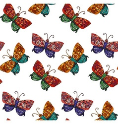 Steampunk butterfly seamless pattern vector image