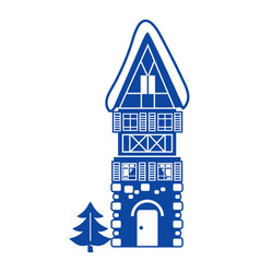 stone high house icon simple style vector image
