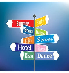 Summer holiday signpost vector image