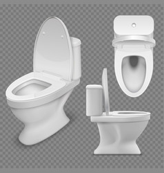 toilet bowl realistic white home in top vector image