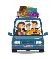 Travel journey concept happy family rides in vector