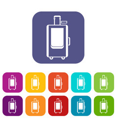 Travel suitcase icons set vector