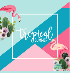 Tropical cactus and flamingo birds summer banner vector