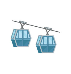 Two blue cabins on ropeway modern cable transport vector
