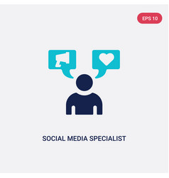 Two color social media specialist icon from vector