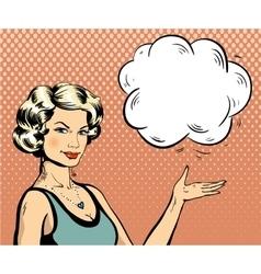 Woman with speech bubble in retro pop art style vector