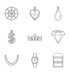 Women jewelry icon set outline style vector
