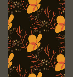 yellow flower dark seamless pattern floral design vector image