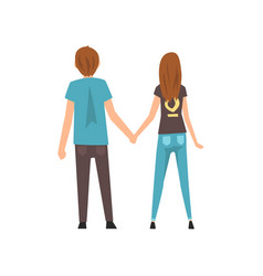 young man and woman holding hands happy romantic vector image