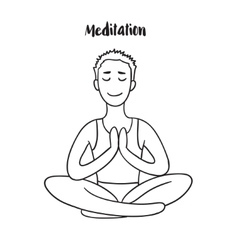 Young Man meditates in the Lotus position Linear vector