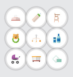 flat icon kid set of child chair stroller cream vector image vector image