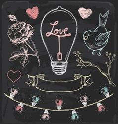 Hand Drawn Chalk Romantic Elements Set vector image vector image