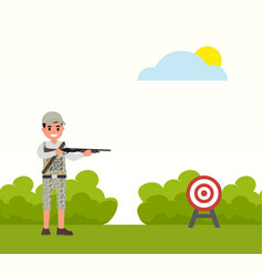 Happy hunter shoots at the target huntsman vector