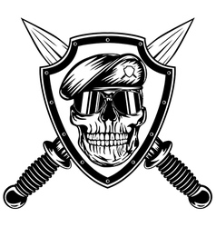 Skull in shield and daggers vector image vector image