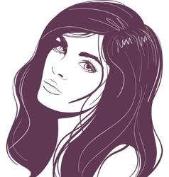 beauty face girl portrait vector image