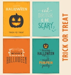 Colorful Typographical Halloween Greeting Card Set vector image