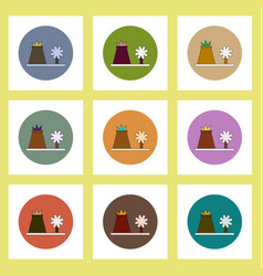 Flat icons set of volcano explosion and tree vector
