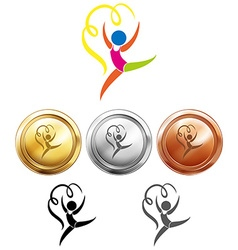 Sport medals and gymnastics with ribbon vector image vector image