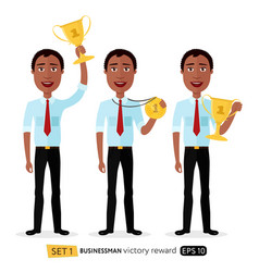 african business man winner success excited vector image vector image