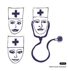 Doctors Three icon faces vector image vector image