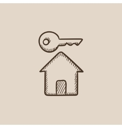 Key for house sketch icon vector image vector image
