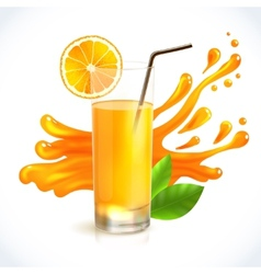 Orange juice splash vector