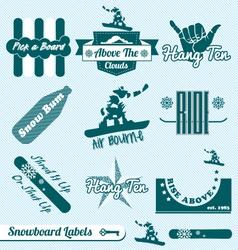 Retro snowboarding labels vector