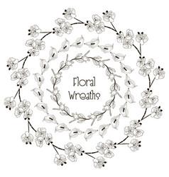 black floral wreaths flower design vector image