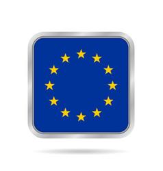 flag of eu shiny metallic gray square button vector image vector image