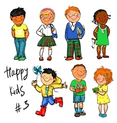 Happy Kids - part 3 Hand drawn clip-art vector image vector image