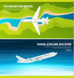 plane travel and tourism airplane aviation vector image vector image
