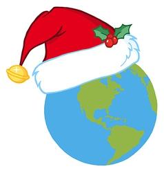 Santa Hat On A Earth vector image