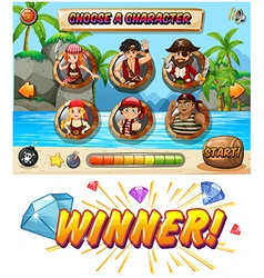 Slot game template with pirate characters vector image vector image