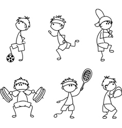 Stick Figure Sporting Icon Set vector image