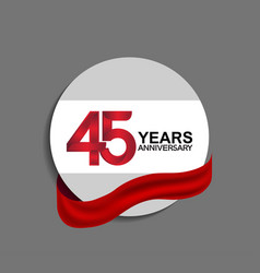 45 years anniversary design in circle red ribbon vector