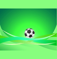abstract green curve background with soccer ball vector image