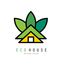 Abstract logo of green house eco friendly vector