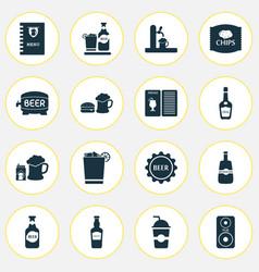 alcohol icons set with bar menu tap barrel of vector image