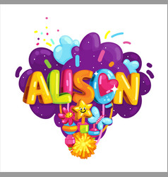 alison girl label vector image