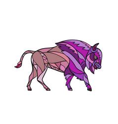 American bison side mosaic color vector