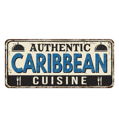 Authentic caribbean cuisine vintage rusty metal vector
