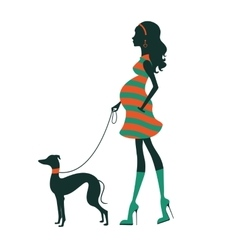Beautiful woman silhouette with greyhound vector image