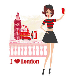 beautiful young woman selfie in london vector image