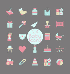 big web icon set baby toy feed and care24 vector image