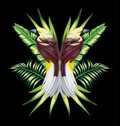 bird with tropical banana leaves in mirror style vector image