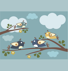 Birds sitting on tree branches vector