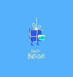 birthday cake in hands a gift vector image